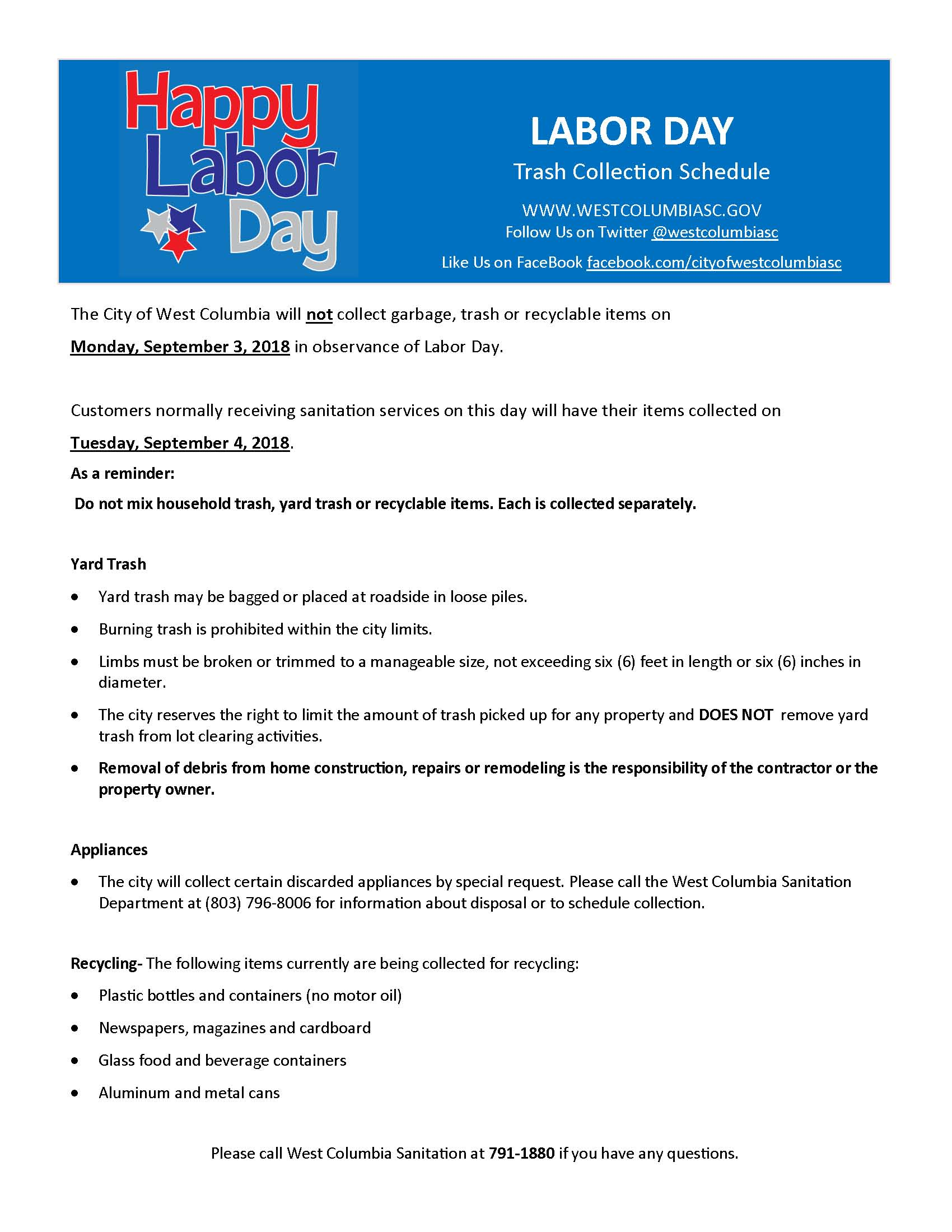 city of west columbia labor day office closing and